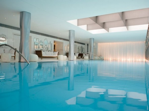 The pool of the 'My Blend by Clarins' spa center in the luxury Hotel, Le Royal Monceau in Paris