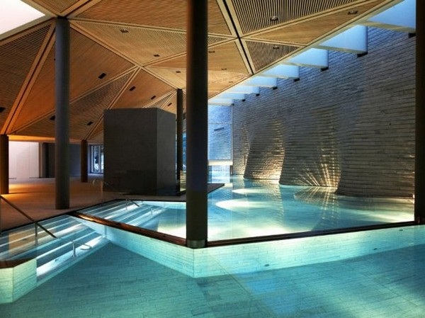 The pool of the mountain retreat 'Tschuggen Grand Hotel' in Switzerland