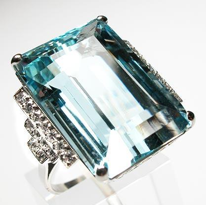 Luxury Natural Aquamarine & Diamond Cocktail Ring photo 1