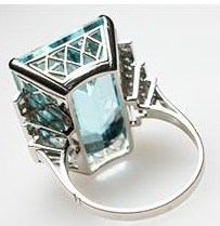 Luxury Natural Aquamarine & Diamond Cocktail Ring photo 2