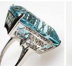 Luxury Natural Aquamarine & Diamond Cocktail Ring photo 5