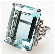 Luxury Natural Aquamarine & Diamond Cocktail Ring photo 6