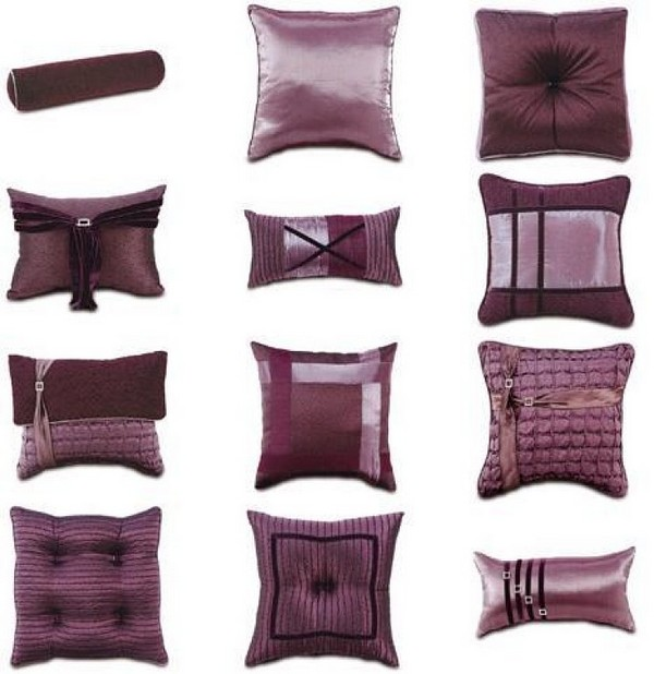 Luxury bedding with Eastern accents and bold colors - plum amethyst pillows