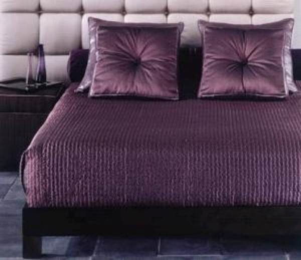 Luxury bedding with Eastern accents and bold colors - plum color bedding