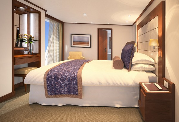 Penthouse Spa Suite – bedroom, aboard Seabourn Quest