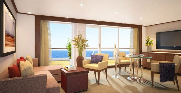 Penthouse Spa Suite – living room, aboard Seabourn Quest