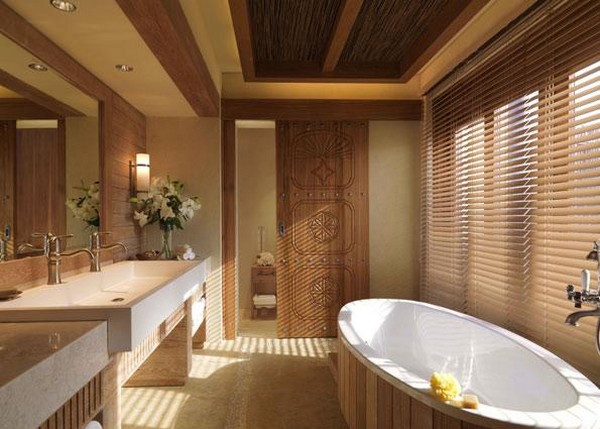 Elegant and spacious wood-infused bathrooms