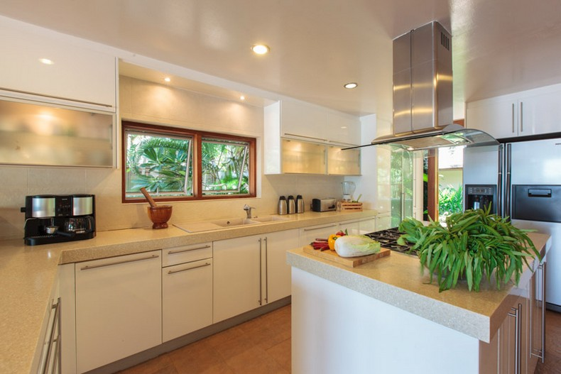 Kitchen at Baan Wanora, a luxury, private, beach front villa located in Laem Sor, Koh Samui, Thailand