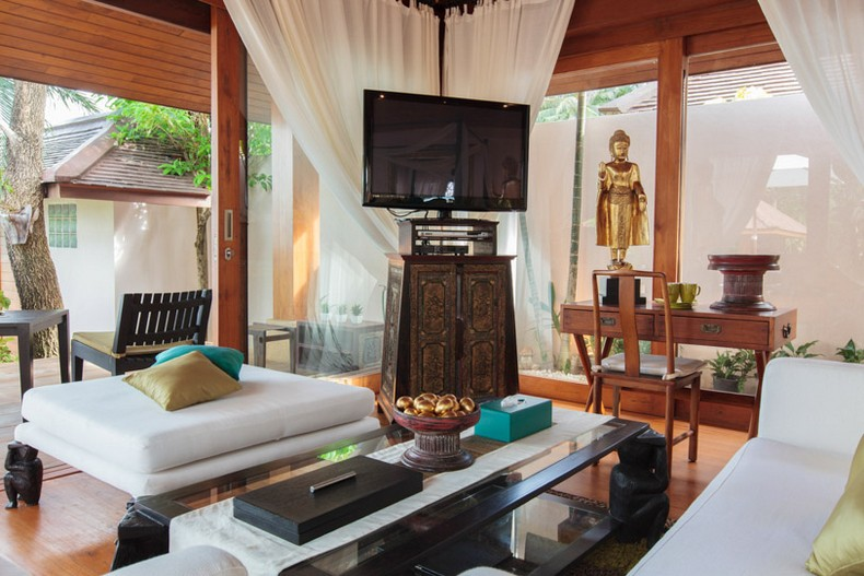 Bedroom at Baan Wanora, a luxury, private, beach front villa located in Laem Sor, Koh Samui, Thailand