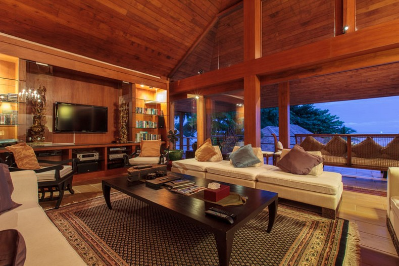Living room at Baan Wanora, a luxury, private, beach front villa located in Laem Sor, Koh Samui, Thailand
