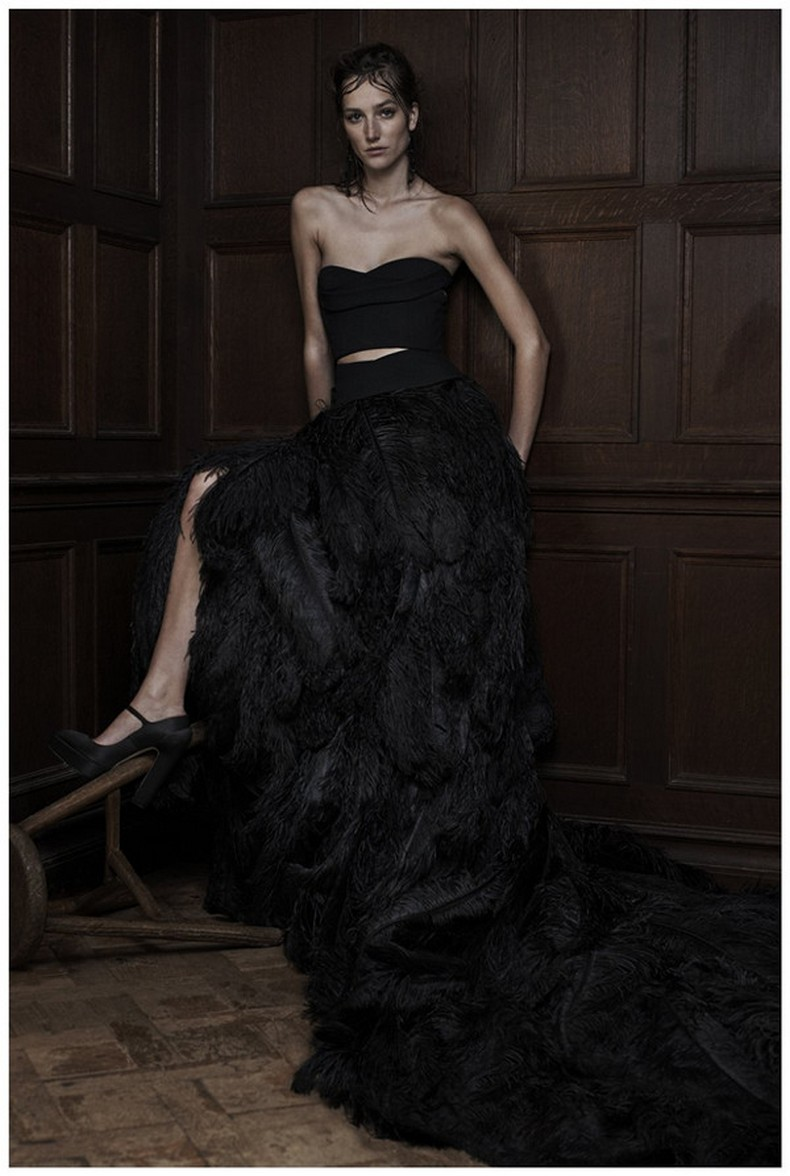Black Vera Wang wedding dress 2016 with feathers