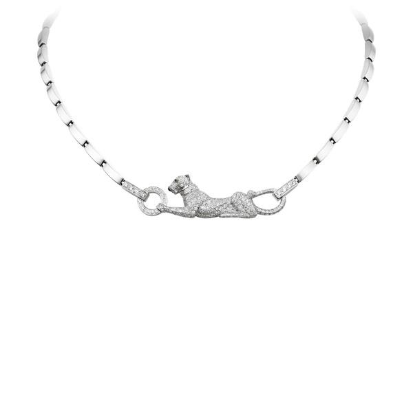 Necklace in 18K white gold with panther motif, diamonds, emerald eyes.