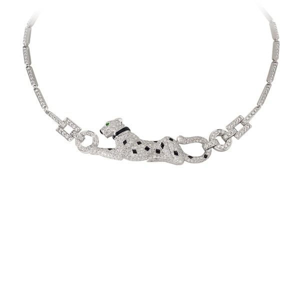 18K white gold necklace with paved diamonds, emerald eyes, onyx nose and spots.