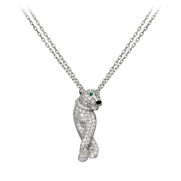 18K white gold fully diamond-paved necklace with panther motif. 258 diamonds, 2 emeralds eyes, 1 onyx nose. Height of the panther motif: 28.5 mm x width: 7.3 mm. Length adjustable from 42 to 45 cm.