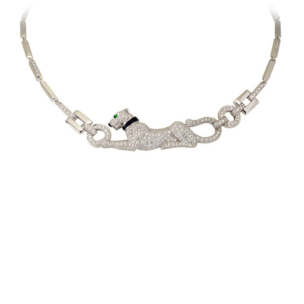 18K white gold necklace with paved diamonds, emerald eyes, onyx nose.