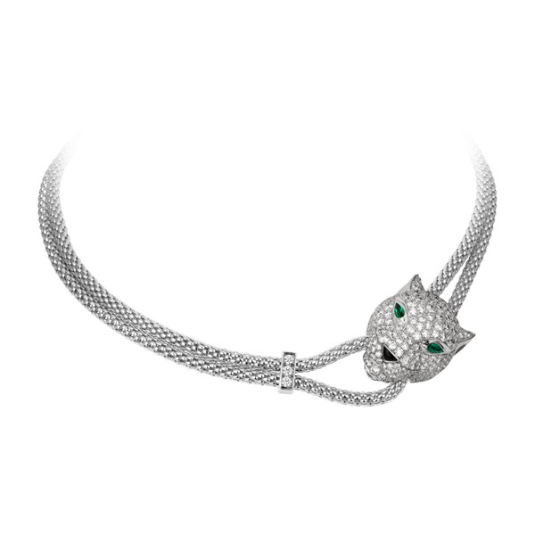 18K white gold necklace, diamond-paved panther motif set with emerald eyes and onyx nose.