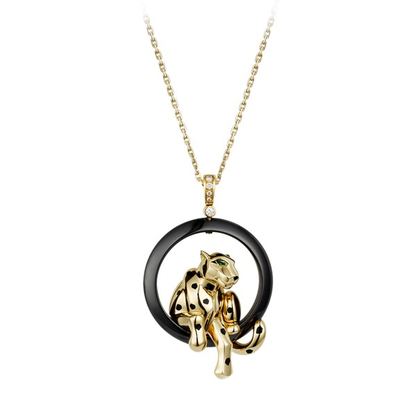 18K yellow gold necklace set with ceramic ring, black lacquer spots, onyx nose, tsavorite garnet eyes and diamonds.