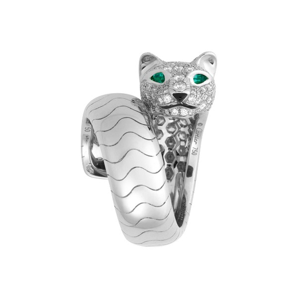 18K white gold panther motif ring with paved diamonds, emerald eyes, onyx nose.