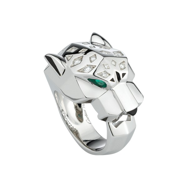Cartier Panthère ring in white gold, diamonds, emeralds, onyx, lacquer (,100)