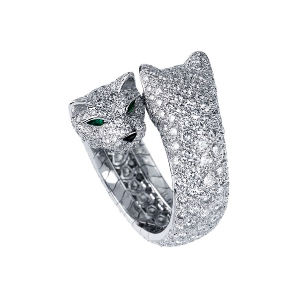 18K white gold ring with paved diamonds, emerald eyes, onyx nose.