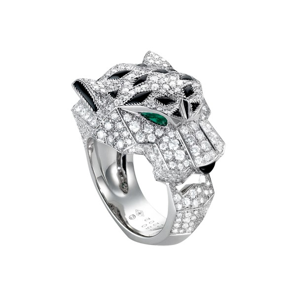Cartier Panthère ring in white gold, emeralds, diamonds, onyx, lacquer (,000)