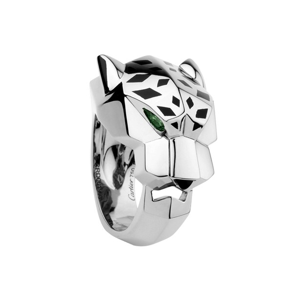 Cartier Panthère ring in white gold, tsavorite garnet, onyx, lacquer (,900)