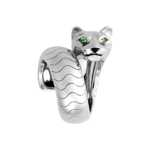 Cartier Panthère ring in white gold, tsavorites, onyx (,200)