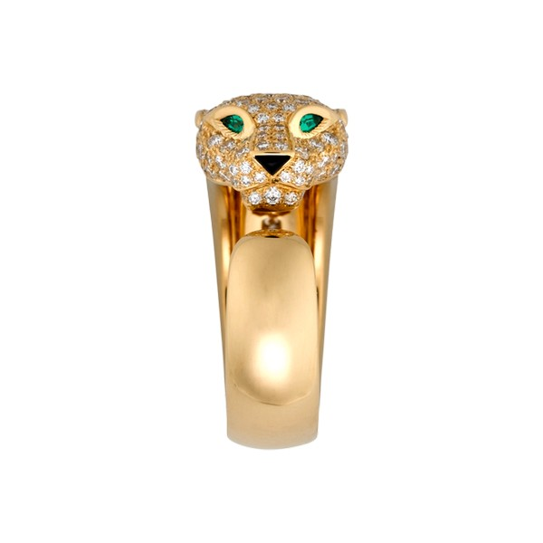 Cartier Panthère ring in yellow gold, diamonds, onyx, emeralds (,100)