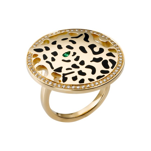 Cartier Panthère ring in yellow gold, diamonds, tsavorite, lacquer (,200)