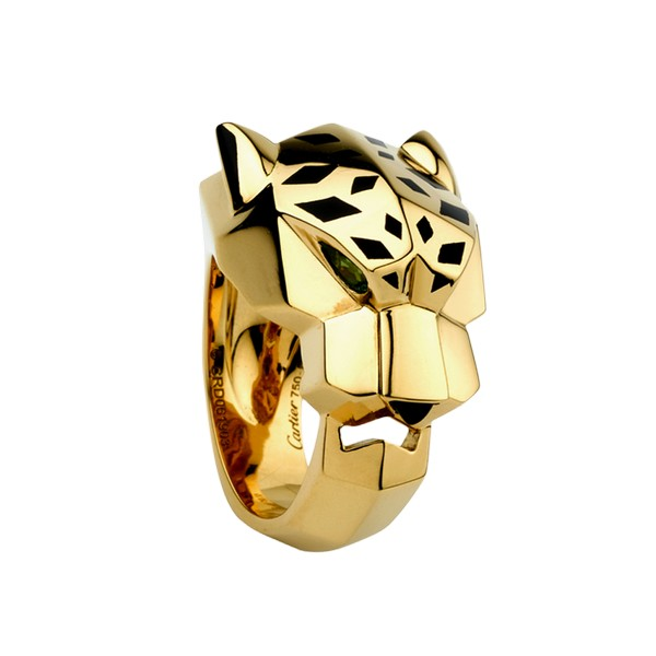 Cartier Panthère ring in yellow gold, tsavorite garnet, onyx, lacquer (,300)