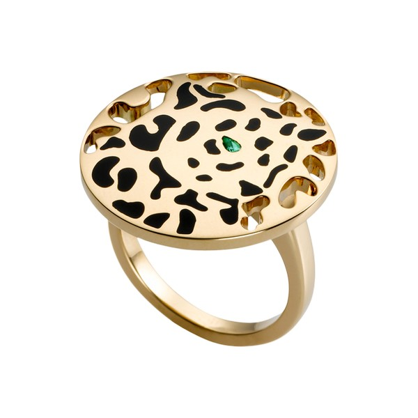 Cartier Panthère ring in yellow gold, tsavorite, lacquer ($5,800)