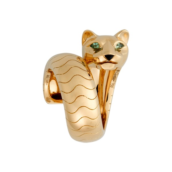 Cartier Panthère ring in yellow gold, tsavorites, onyx (,500)