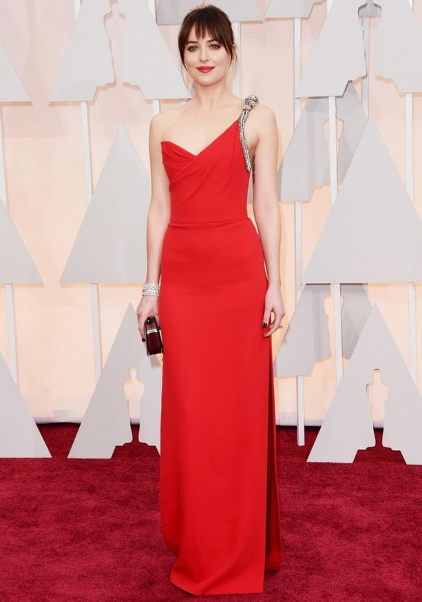 Dakota Johnson was wearing a red-hot one-shoulder Saint Laurent gown and Forevermark jewelry
