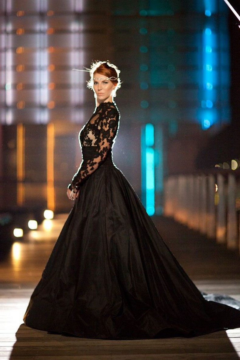 Elegant Black Wedding Dresses With Sophisticated Style and Long Lace Sleeves