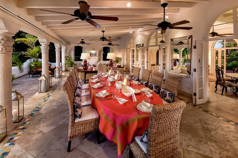 Elsewhere Villa Barbados dining room