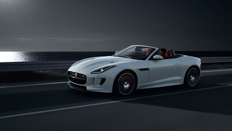 F-TYPE R Convertible, Glacier White with optional Black Pack and Red Leather Interior Pack