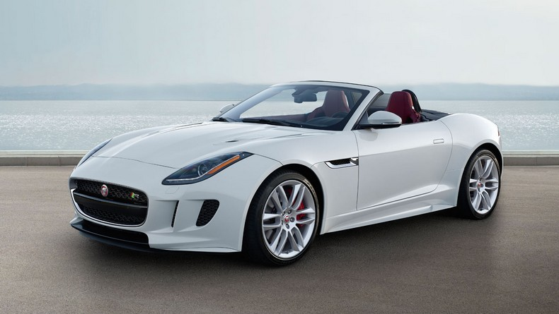 F-TYPE R Convertible Glacier White with optional Red Leather Interior Pack