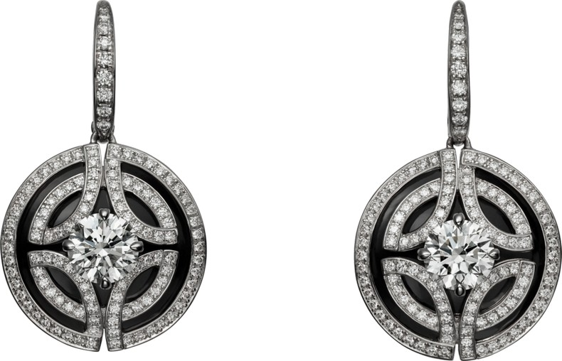 Galanterie de Cartier earrings in white gold, black lacquer, diamonds