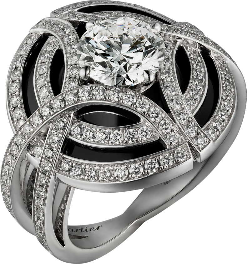 Galanterie de Cartier ring photo: white gold, black lacquer, diamonds