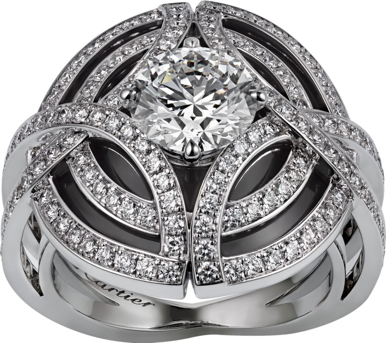 Galanterie de Cartier ring image - white gold, black lacquer, diamonds