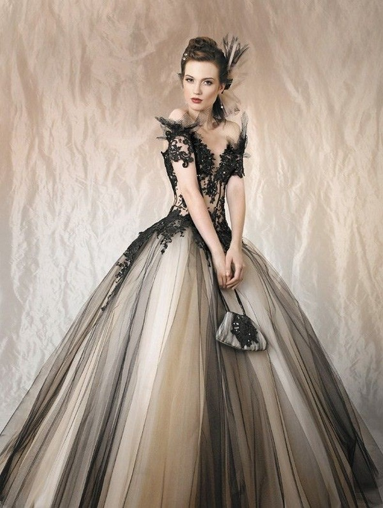 Halloween Black and Nude Tulle Wedding Dress