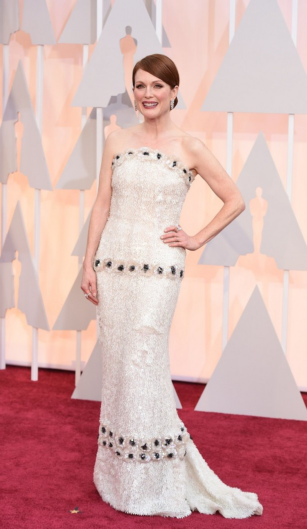 Julianne Moore was wearing a strapless Chanel dress embroidered with 80,000 hand-painted sequins and flowers