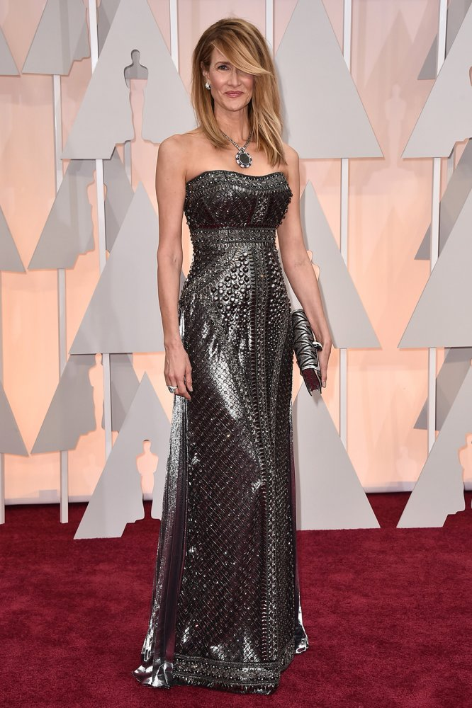 Laura Dern wore a shiny embellished black and silver Alberta Ferretti gown and Bulgari jewelry