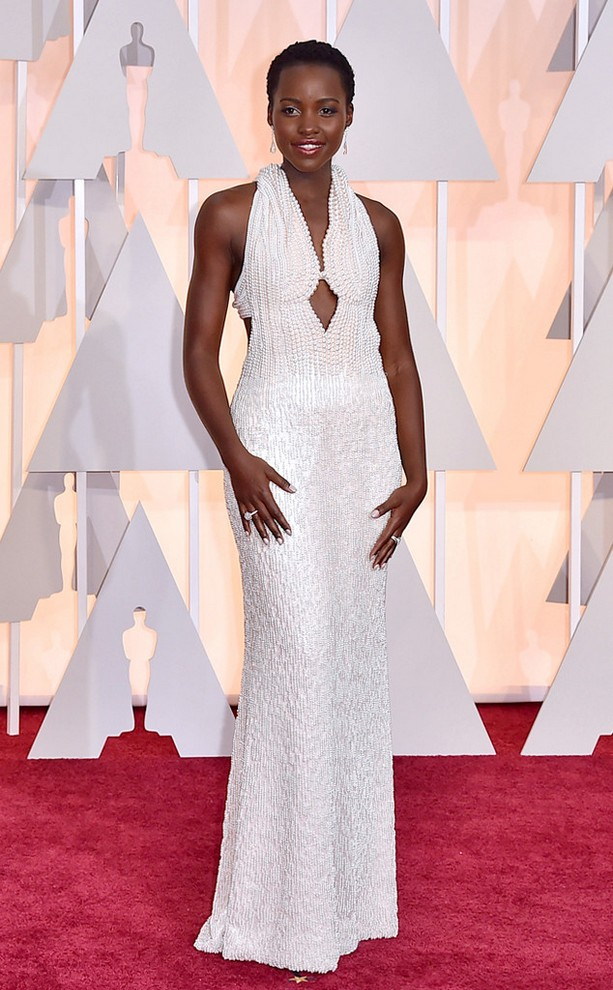 Lupita Nyong was wearing a pearl-embellished Calvin Klein collection gown that was custom-designed for her