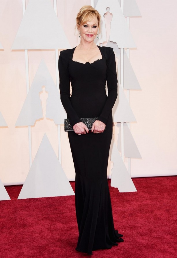 Melanie Griffith wore a striking long-sleeved black dress with square neckline