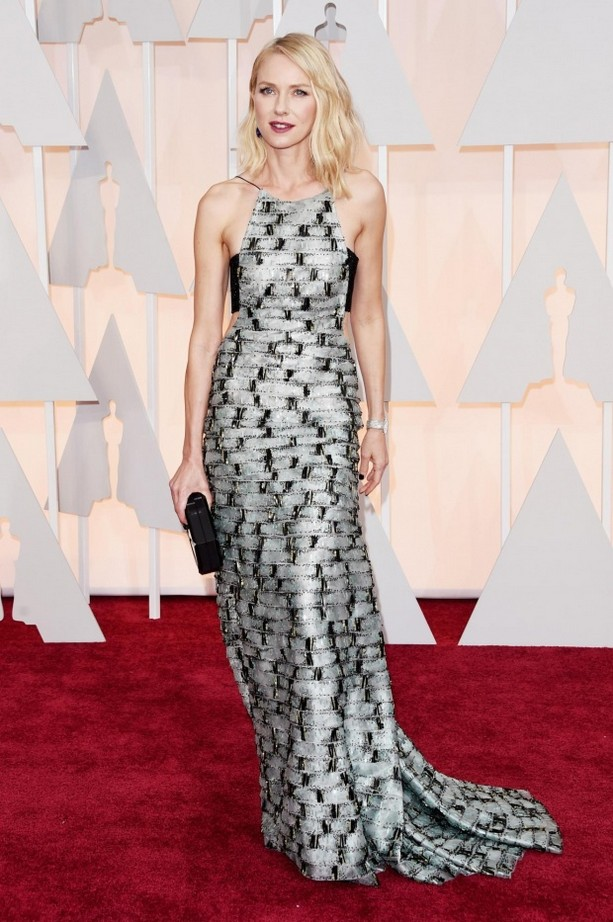 Naomi Watts was wearing an embellished Armani black and silver dress and dark lips