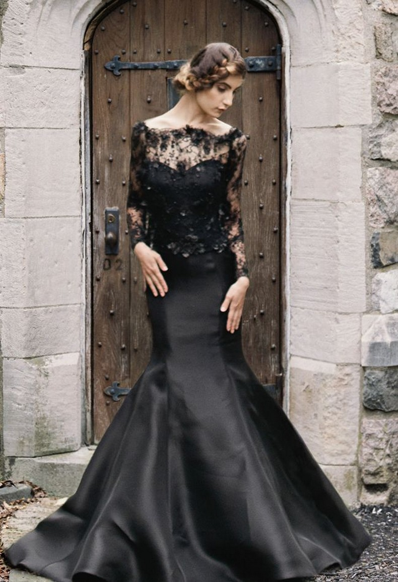 25 glamorous black wedding dresses luxury pictures for Black mermaid wedding dresses
