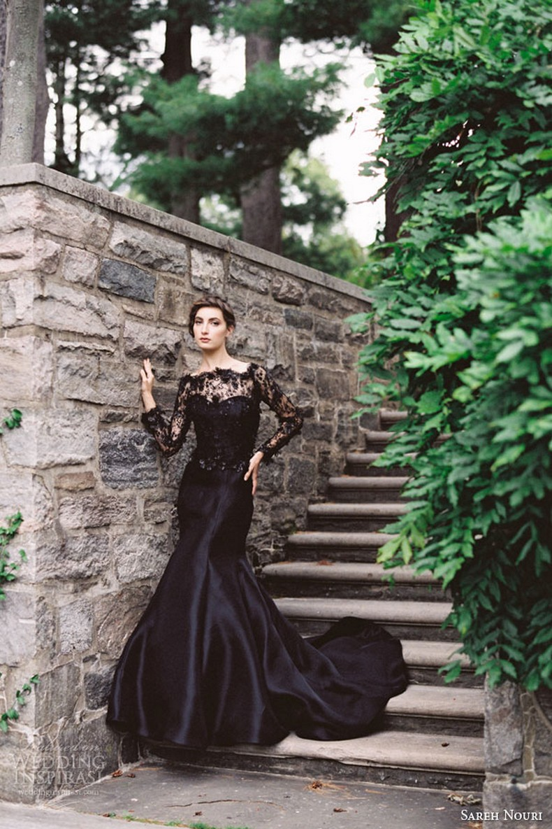 25 glamorous black wedding dresses luxury pictures for Black lace wedding dresses