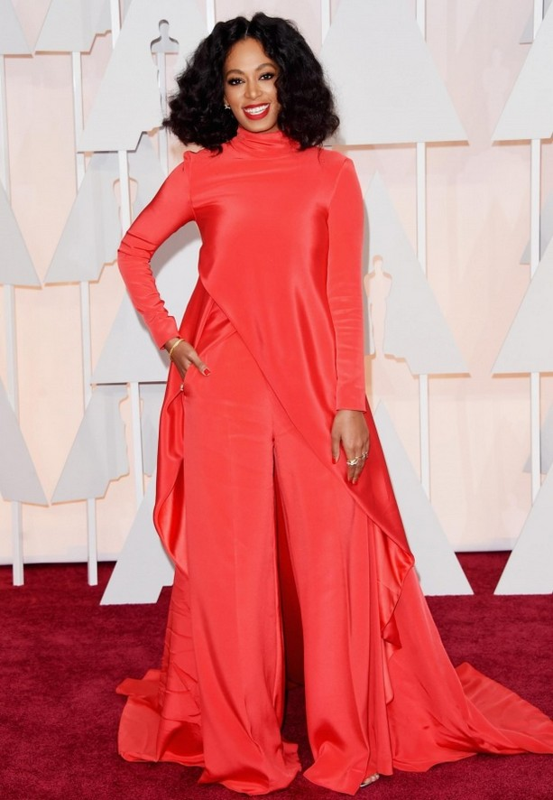 Solange Knowles was wearing a Christian Siriano Fall 2015 pants-style ensemble, completed by an overlaying turtleneck cape