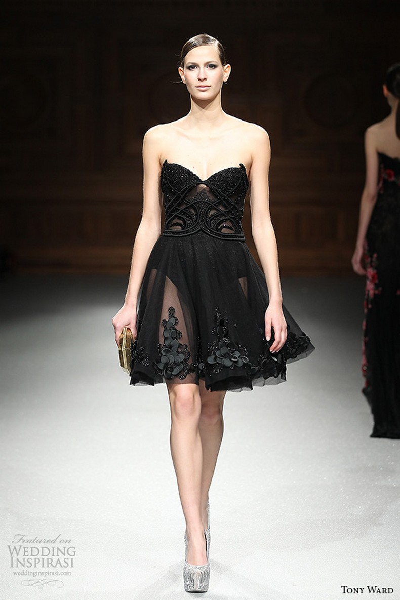 Tony Ward couture spring summer 2015 runway strapless sweetheart neckline black short dress